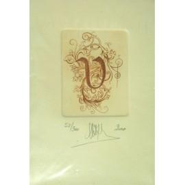 Gravure Caroline Delépine taille douce lettre V
