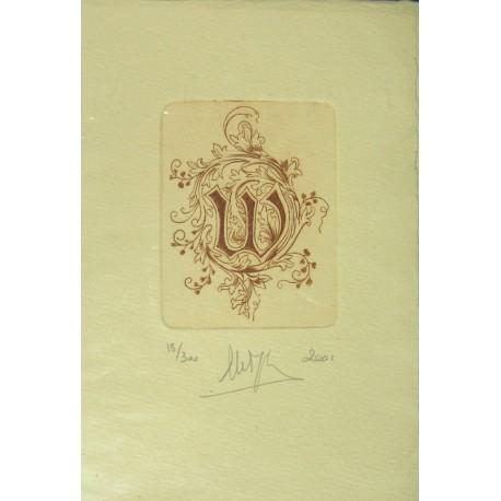 Gravure Caroline Delépine taille douce lettre W