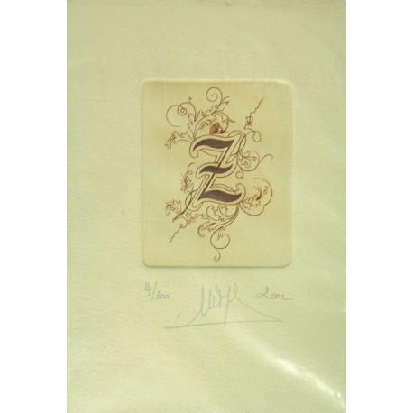 Gravure Caroline Delépine taille douce lettre Z