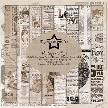 Papier scrapbooking assortiment Dixi Craft Paper Favourites Vintage Collage 30x30 8fe