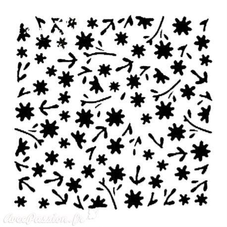 Pochoir plastique petites fleurs 16x16cm