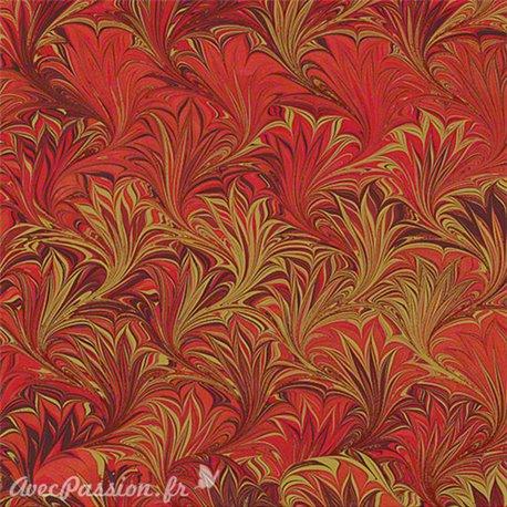 Papier tassotti à motifs marbré rouge et doré