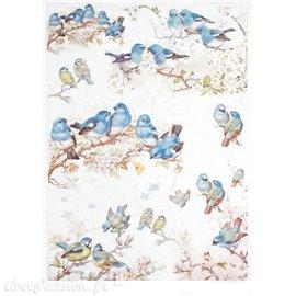 Papier de riz oiseaux bleus 21x30cm