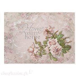 Papier de riz home sweet home & roses 21x30cm