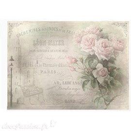 Papier de riz cachemires & roses 21x30cm