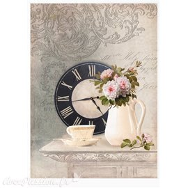 Papier de riz horloge & pot de fleur 21x30cm