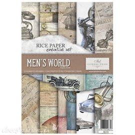 Kit créatif 13 papier de riz + 2 pochoirs + 5 foil  //  Men's world