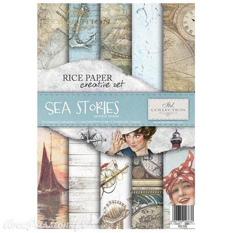 Kit créatif 13 papier de riz + 2 pochoirs + 5 foil  //  Sea Stories