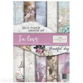 Kit créatif 13 papier de riz + 2 pochoirs + 5 foil  //  In Love