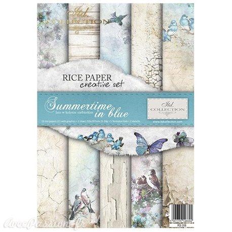 Kit créatif 13 papier de riz + 2 pochoirs + 5 foil  // Sumertime in blue