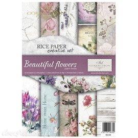 Kit créatif 13 papier de riz + 2 pochoirs + 5 foil  // Beautiful flowers