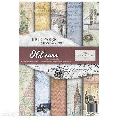 Kit créatif 13 papier de riz + 2 pochoirs + 5 foil  // Old cars