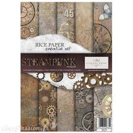 Kit créatif 13 papier de riz + 2 pochoirs + 5 foil  // Steampunk
