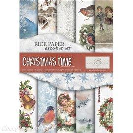 Kit créatif 13 papier de riz + 2 pochoirs + 5 foil  // Christmas time