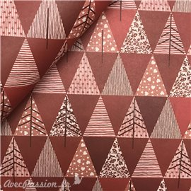 Papier tassotti à motifs sapin de Noël rouge
