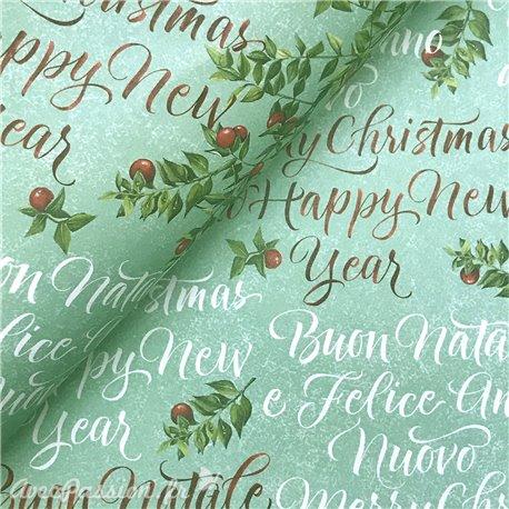 Papier tassotti à motifs Noël merry christmas fond vert