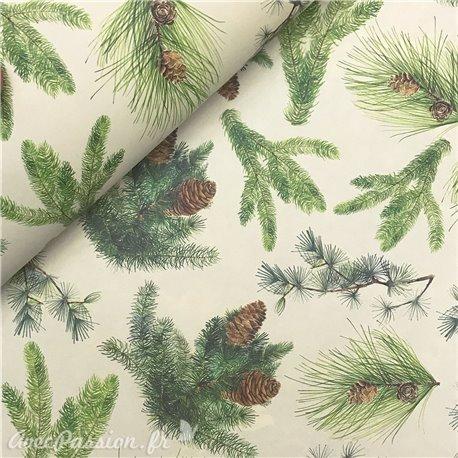 Papier tassotti à motifs Noël branches de sapin fond clair