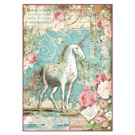 Papier de riz Stamperia 21x29,7cm wonderland licorne