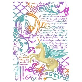 Pochoir décoratif fin Stamperia wonderland licorne 21x29.7cm