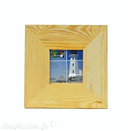 Cadre en bois + verre 8x8cm