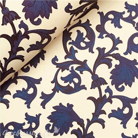 Papier italien motifs arabesque bleu