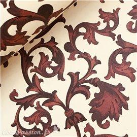 Papier italien motifs arabesque bordeaux fond ivoire