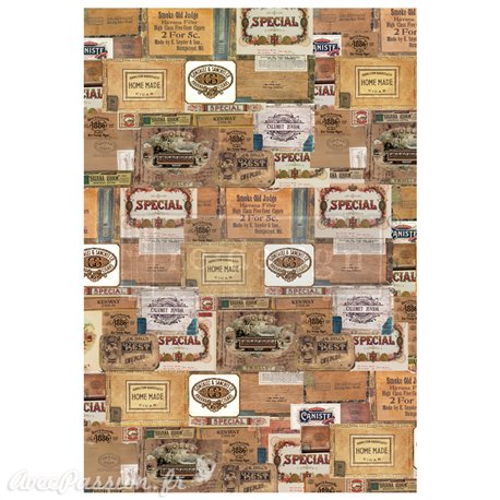 Transfert pelliculable Redesign Prima marketing décor Boite à cigares vintage