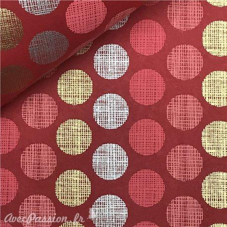 Papier indien cercles fond rouge motifs rose argent et or