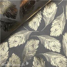 Papier kraft plumes de paon or