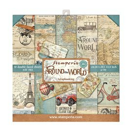 Papier scrapbooking assortiment Stamperia 10f recto verso 20x20 Around the World