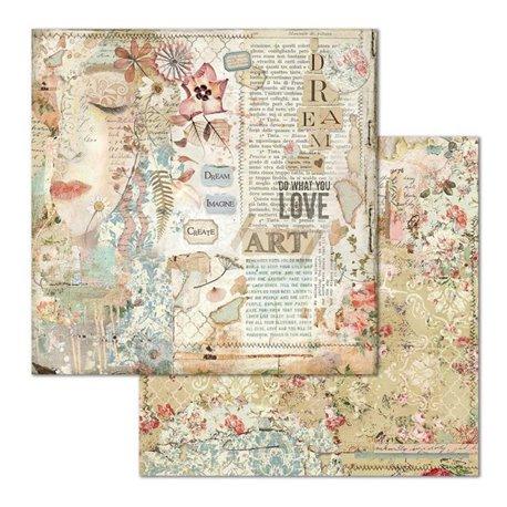 Papier scrapbooking réversible Stamperia doube face 30x30 Love art face