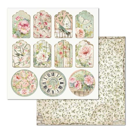 Papier scrapbooking réversible Stamperia doube face 30x30 Tag House of roses