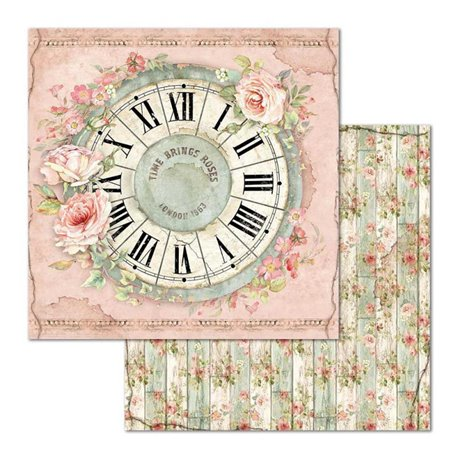 Papier scrapbooking réversible Stamperia doube face 30x30 Clock