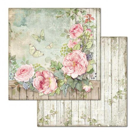 Papier scrapbooking réversible Stamperia doube face 30x30 Fence with Roses