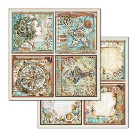 Papier scrapbooking réversible Stamperia doube face 30x30 Frames Sea world