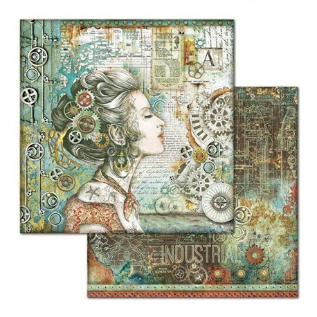 Papier scrapbooking réversible Stamperia doube face 30x30 Lady