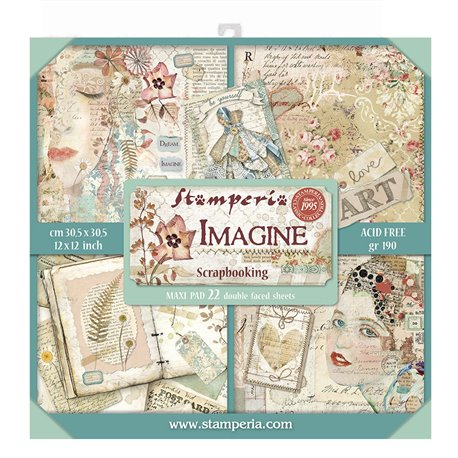 Papier scrapbooking assortiment Stamperia 22f recto verso 30x30 Imagine