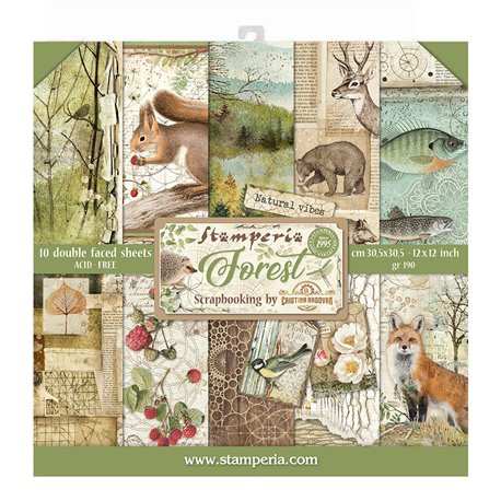 Papier scrapbooking assortiment Stamperia 10f recto verso 30x30 Forest