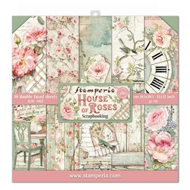 Papier scrapbooking House of Roses Stamperia 10f recto verso 30x30 assortiment