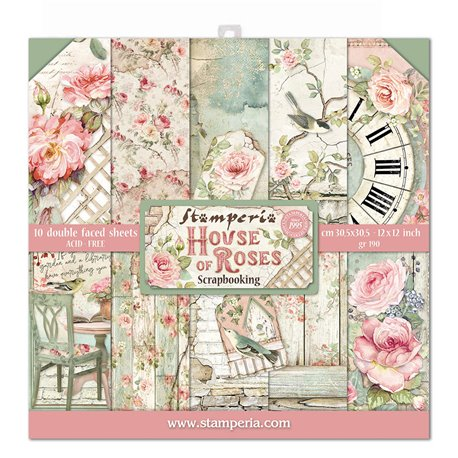 Papier scrapbooking assortiment Stamperia 10f recto verso 30x30 House of Roses