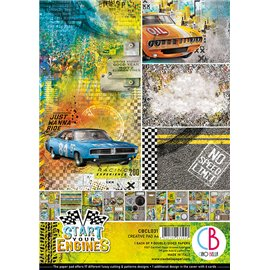 Papier scrapbooking A4 assortiment Ciao Bella Start your Engines 9fe