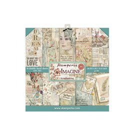 Papier scrapbooking assortiment Stamperia 10f recto verso 20x20 Imagine