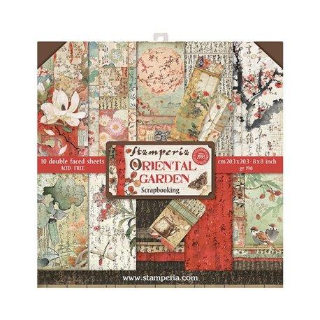 Papier scrapbooking assortiment Stamperia 10f recto verso 20x20 Oriental Garden