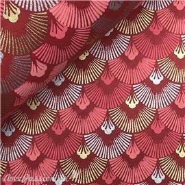 Papier indien dawn fond rouge motifs rose argent et or