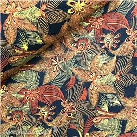 Papier à motifs jungle vert amazone fleurs multicolores
