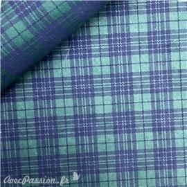 Papier à motifs tartan fond vert écossais bleu