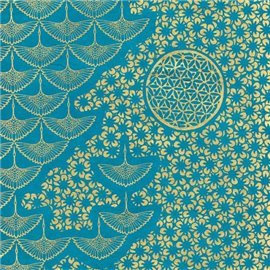 Papier népalais lokta motifs kumiko or fond turquoise