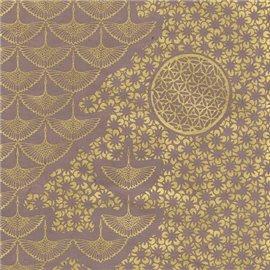 Papier népalais lokta motifs kumiko or fond taupe