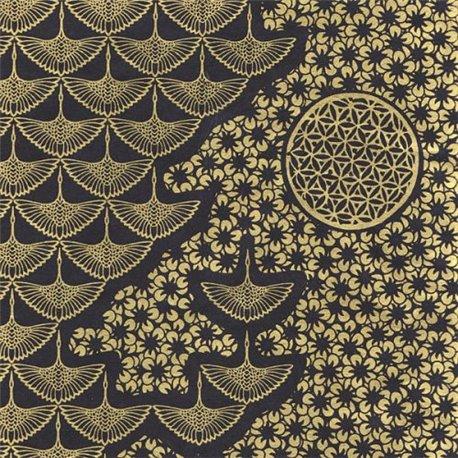 Papier népalais lokta motifs kumiko or fond noir