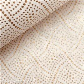 Papier à motifs swann fond blanc points or